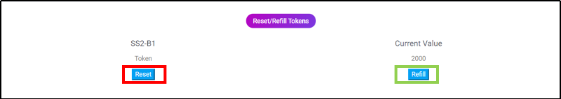 button of reset and refill tokens