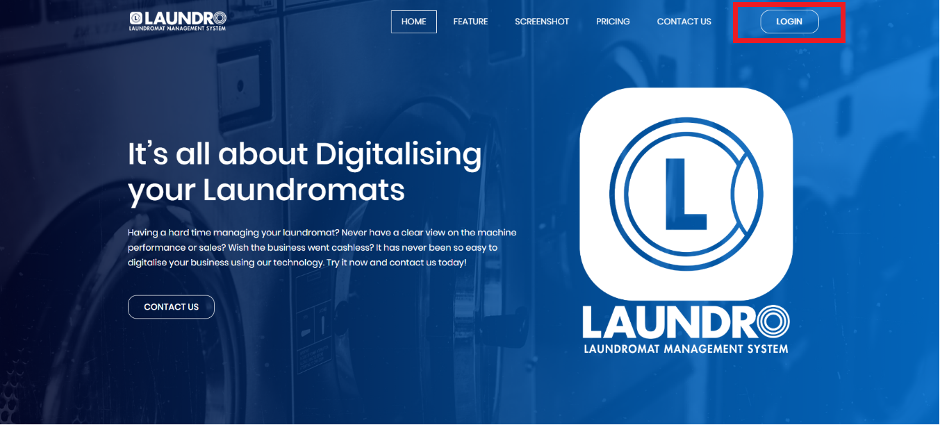 main page of laundro