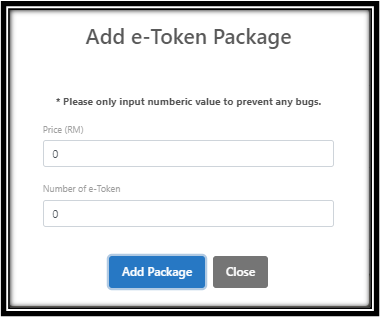 Add e-Token package Page